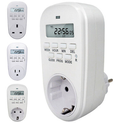 US EU UK Plug Outlet Electric Digital Time Control 7 Day Weekly Timer Switch