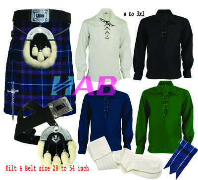 Men's Scottish Traditional 8-Pic Pride of Scot 8Yard 16oz Kilt Set outfit by HAB