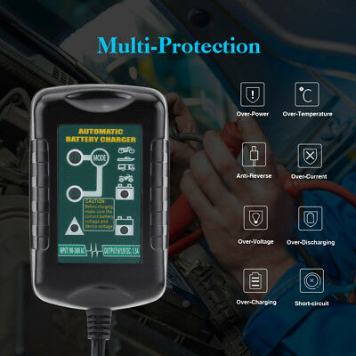 6V 12V 1.5A Car Motorcycle Smart Automatic Battery Charger Maintainer Trickle US