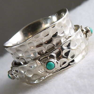 Daisy SPINNER Sz US 7.75 SilverSari RING Solid 925 Stg Silver/TURQUOISE SPR1056