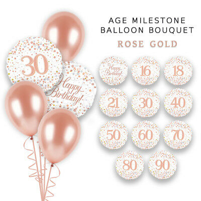 Rose Gold Holo Bouquet 18Th 30Th 40Th 50Th 60Th Party Birthday Balloons Bouquet