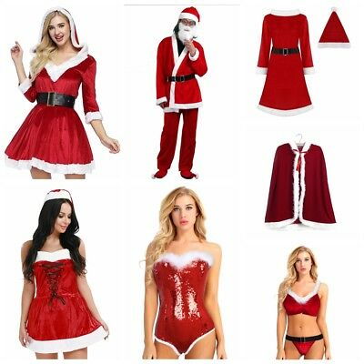 Sexy Women Mens Christmas Santa Claus Holiday Party Cosplay Costumes Fancy Dress