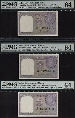 1957 India 1 Rupees Set Of 3 Sequential Notes  Pmg 64 S/N  N/53 872045 ,046,047