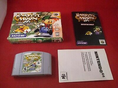 Harvest Moon 64 (Nintendo 64, 1999) N64 COMPLETE w/ Box manual game WORKS!