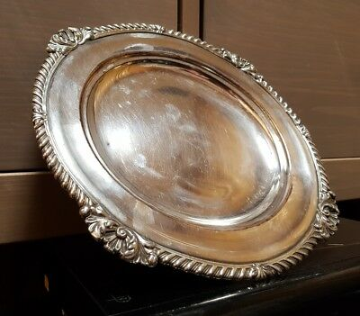Beautiful vintage Silver plated on copper tray with very ornate edging free p&p