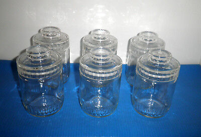 6 Vintage Retro Original Ribbed Clear Glass Storage Jars,seals Ribbed Knob Lid