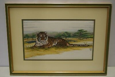 Framed Cross Stitch Embroidery Picture Of A Tiger 53 cm W 38 cm H