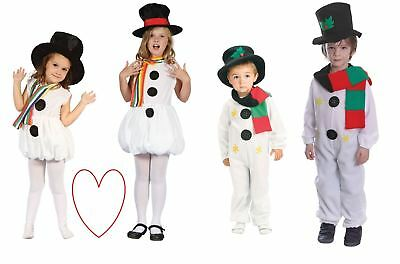 Childrens Snowgirl Snowman Christmas Xmas Outfit Costume Boys Girls Toddler