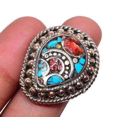 Tibetan Turquoise,Coral 925 Sterling Silver Plated Ring Size-8.5 RR-38793