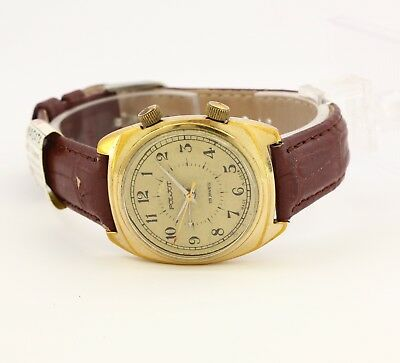 USSR Poljot Alarm's & Vibrates men's gold plated watch. Cal. 2612.1, white dial