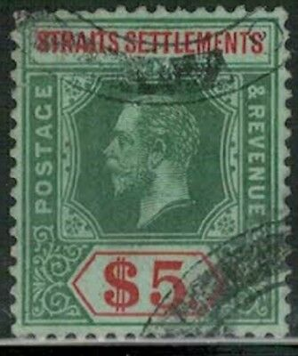 Lot 4205 Straits Settlements 1912 $5 green & red on grn King George V used stamp