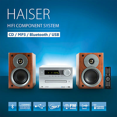 HAISER ® HSR 117 Kompakt HiFi System Bluetooth USB CD MP3 Radio Fernbedienung