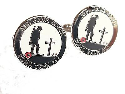 All Gave Some, Some Gave All World War Remembrance Poppy Cufflinks