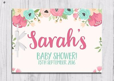 PERSONALISED Baby Shower Guest Book, Keep Sake, Game, Pink, Floral, Girl, Cute