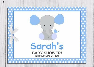 PERSONALISED Baby Shower Guest Book, Keep Sake, Game, Blue, Elephant, Baby Boy