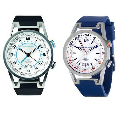 Mens Wristwatch PIQUADRO GMT Silicone Blue Black Timezone Made In Italy Sub 50mt