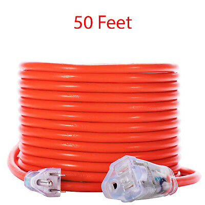 Extension Power Cord Heavy Duty Outdoor Cable Outlet Electrical Wire 50 Feet