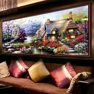 Handmade Cotton Thread Counted Cross Stitch Embroidery Kit Set Garden Cottage
