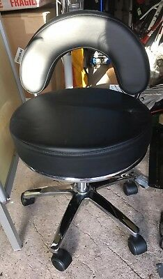 Low Salon Stool For Pedicures, Backrest, Height Adjustable, On Wheels