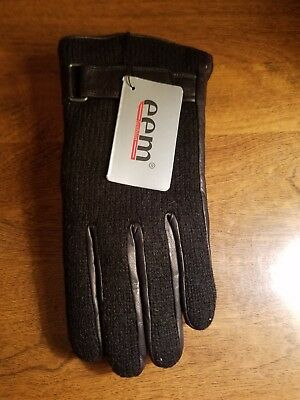 EEM Mans Leather Gloves LIN fabric on top black  size(M)