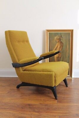 Vintage Mid Century 1950s Danish Cocktail Chair Armchair. Original Upholstery.