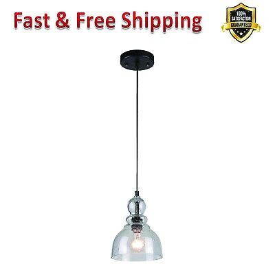 Mini Pendant Light Oil Rubbed Bronze Finish Clear Seeded Glass Home Decoration