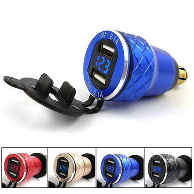 Motorcycle Dual USB Charger Adapter + LED Voltmeter Powerlet Din Hella Plug