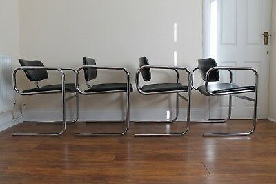 Vintage Mid Century 1970s Tim Bates For PIEFF Set of Four Chrome Dining Chairs.