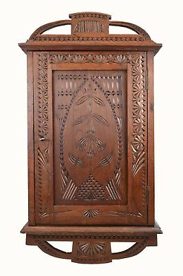 Antique Frisian Chip Carved Wall Hanging Cabinet, Cupboard, Dutch.