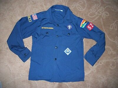 Vintage Boy Scout of America  Navy Blue Uniform Shirt with Patches Med Halloween