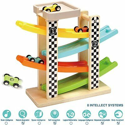 TOP BRIGHT Toddler Toys For 1 2 Year Old Boy Gifts Wooden Race Track Car Ramp...