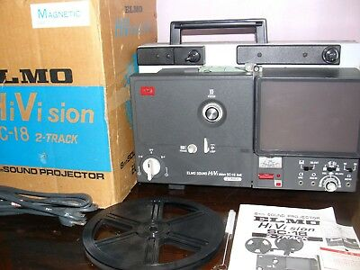 Elmo Sound Hi Vision SC-18 M 2-Track Movie Projector & Light Bulb ~Serviced~