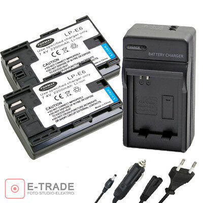 LP-E6 2200mAh CHIP Battery / CHARGER for Canon EOS 5D Mark II III 6D 60D 7D