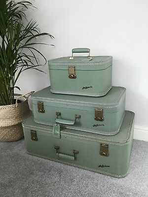 Set Of 3 Vintage Green Lady Baltimore Suitcases