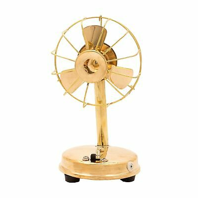 Vintage Collectible Small Working Table Fan Maritime Decorative Brass Style Gift