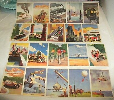 1943 Coca Cola Art Deco Transportation Cards, 20 Cards, Old New, Litho,