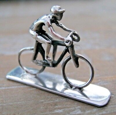 A Sweet Sterling Silver Miniature Cyclist Tour Of Britian Tour De France Cycling