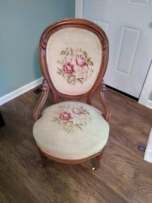 Antique Needlepoint Chair Vintage