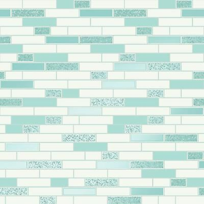 Oblong Granite Tile Wallpaper Teal / White Holden 89190 - Kitchen / Bathroom New