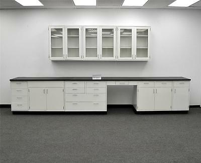 15' Feet of Base Laboratory Cabinets and 9' Glass Door Wall Cabinets w/ Tops