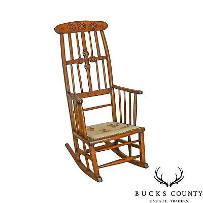19th Century Antique Country Spindle Back Rocker w/ Stars