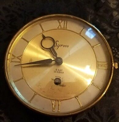 **SYROCO 8 DAY JEWELED CLOCK** Antique Round Convex Glass Wind Up Clock!
