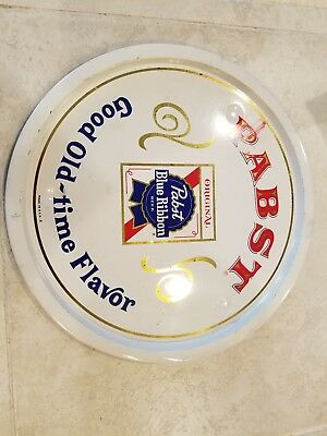 VTG Pabst Blue Ribbon Beer Tray PBR Metal Round Advertising Sign Man Cave