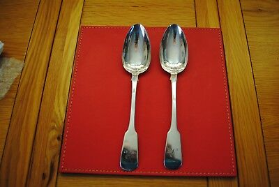 2 x Solid Silver Serving Spoons Georgian T Cox Savory London 1827