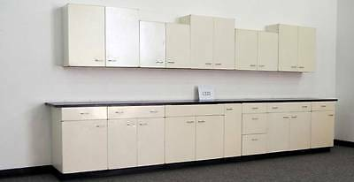 15' Base Cabinets &  14' Wall Metal Cabinets Laboratory Group - Black Tops