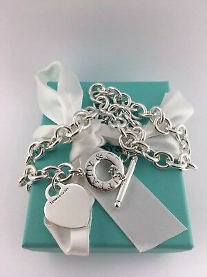 Tiffany & co. Sterling silver heart tag toggle chain link necklace!!!!!!