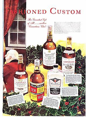 1938 Vintage Magazine Ad ~ Hiram Walker's Canadian Club ~ Dry Gin ~ Whiskey