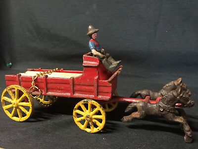 Antique Cast Iron Horse Drawn Lumber Wagon Hubley ? Dent ? Wilkins ?
