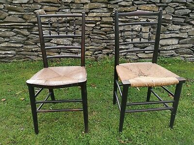 Two Sussex Morris Chairs Rush Seat Arts & Crafts