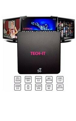 Tv Box Tech-It Smart Android 8.1 4K 4Gb Ram 32 Gb Rom Iptv 5G Dual Band